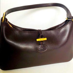 Longchamp Handbag Brown Leather Toggle Zip Closure